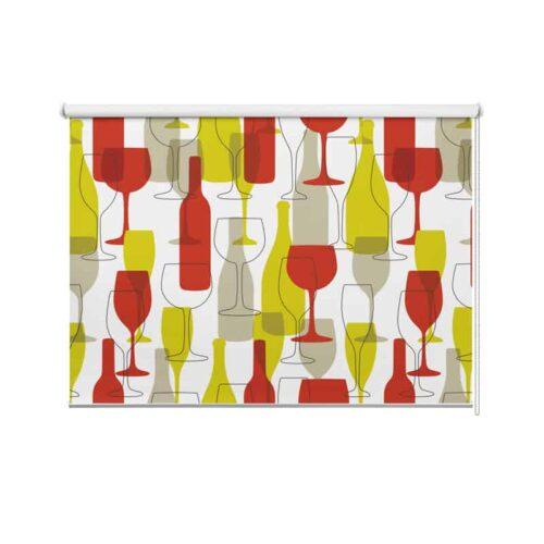 Rolgordijn Wijnflessen en glazen illustratie