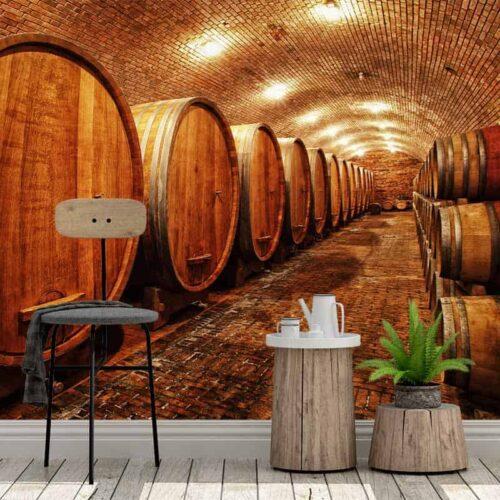 Fotobehang Wijnvaten in wijnkelder