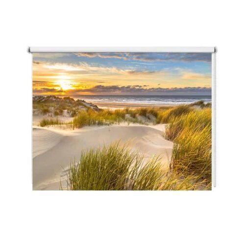 Rolgordijn Zee strand duinen in avondschemer