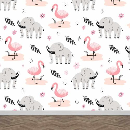Fotobehang Flamingo olifantjes patroon