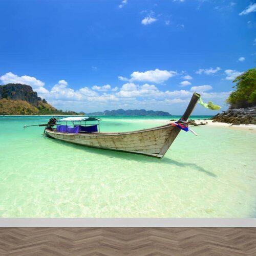 Fotobehang Boot bij Thais strand