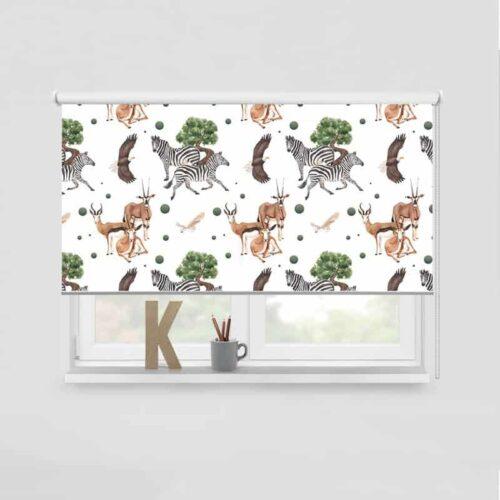 Rolgordijn Dieren in de savanne patroon