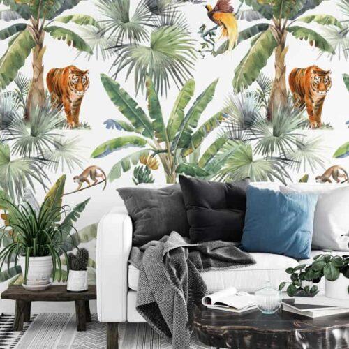 Fotobehang Botanisch jungle patroon tijger