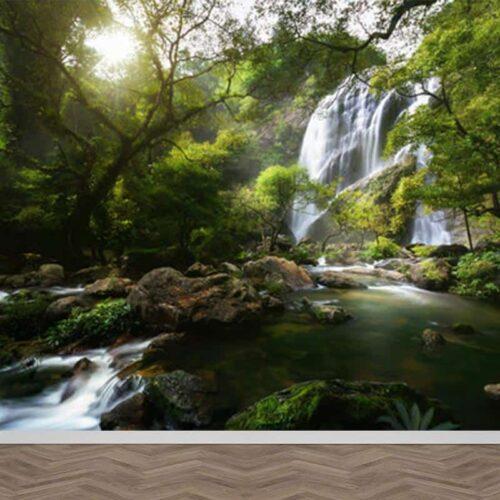 Fotobehang Waterval in bos