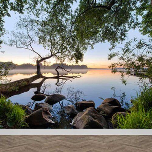 Fotobehang Uitzicht over meer
