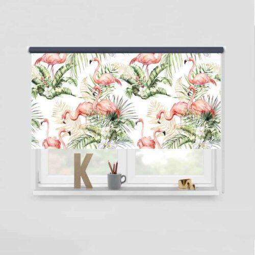 Rolgordijn Flamingo jungle patroon