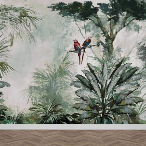 Fotobehang Papegaaien in jungle