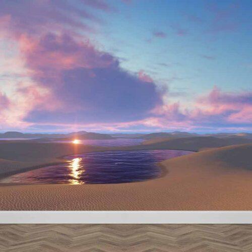 Fotobehang Water in woestijn