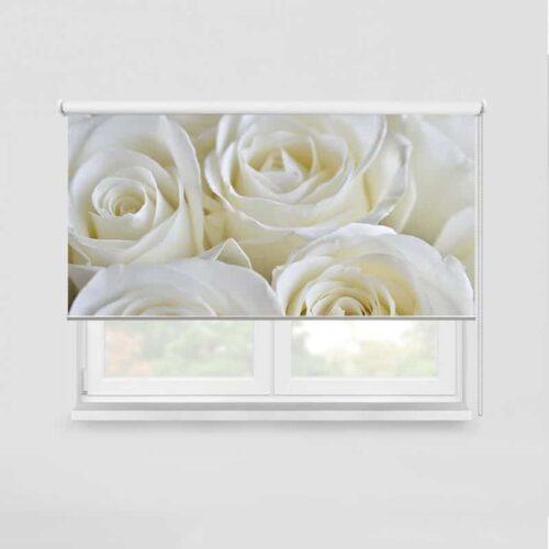 Rolgordijn Witte rozen