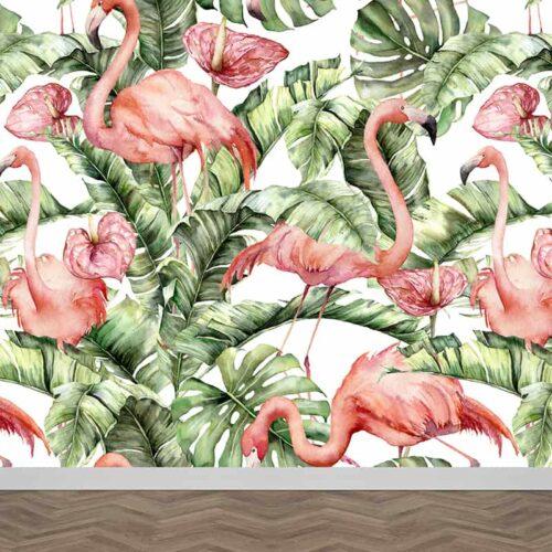 Fotobehang Bladeren flamingo patroon
