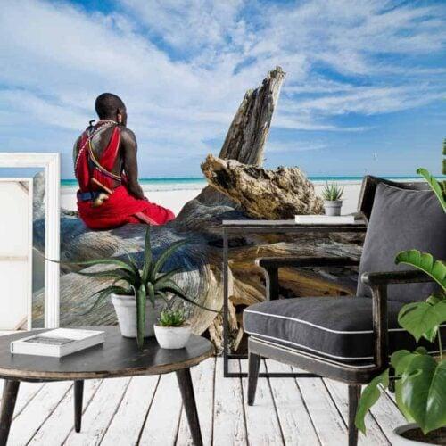 Fotobehang Masai op wacht