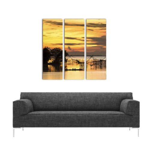 Canvas-drieluik-Afrikaans-meer