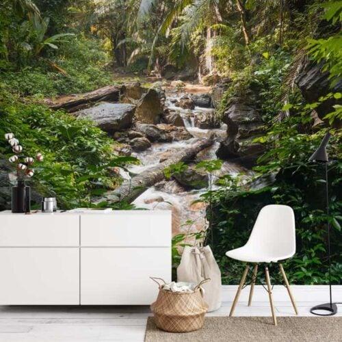 Fotobehang Beek in jungle