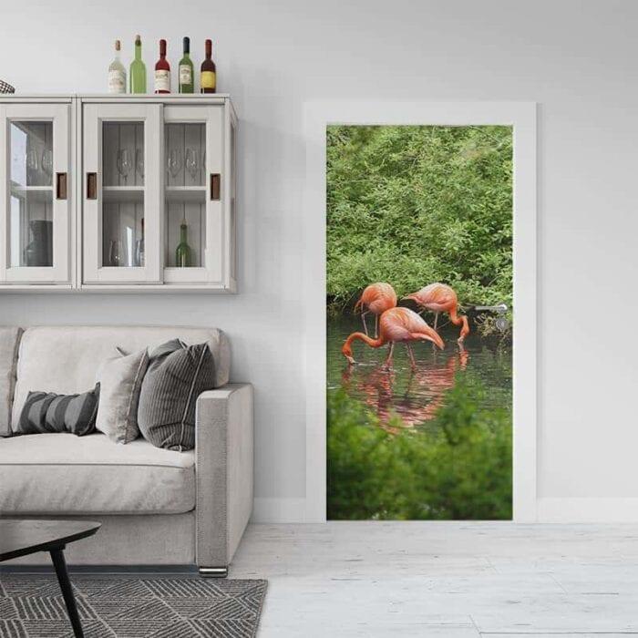Deursticker Flamingo in water