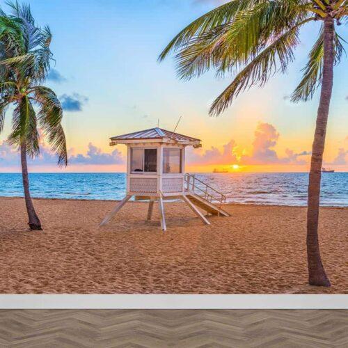Fotobehang Strand met strandwacht