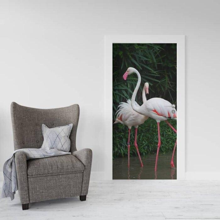 Deursticker 2 Flamingo's