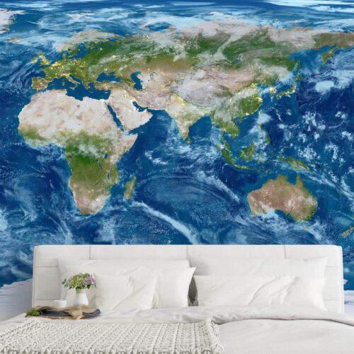 Fotobehang Realistische wereldkaart