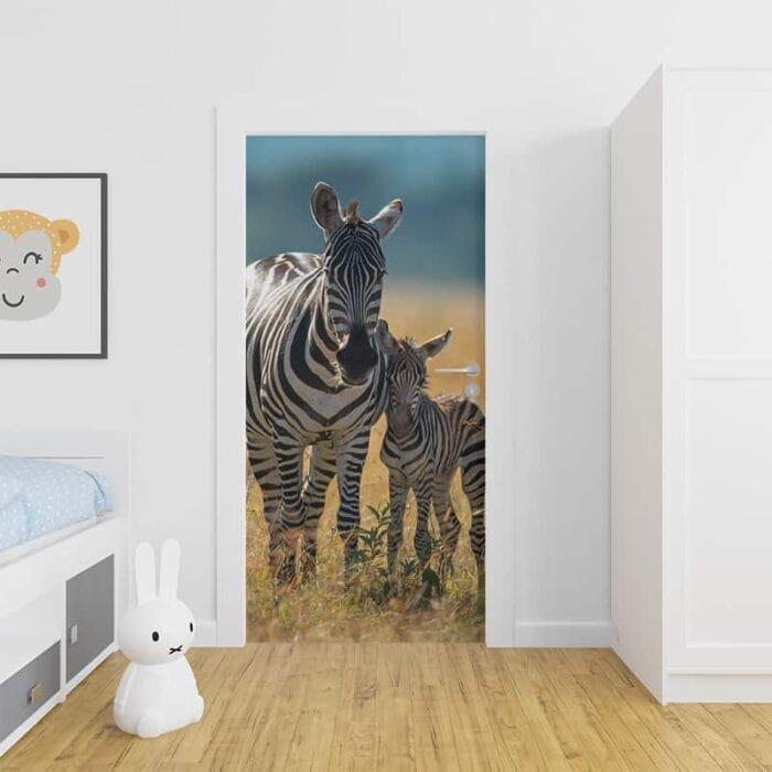 Deursticker Zebra met jong